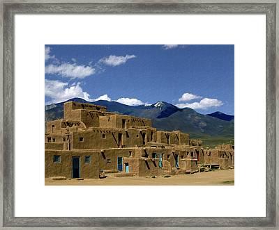 North Pueblo Taos Framed Print by Kurt Van Wagner
