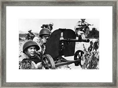 North Vietnamese Gun Crew Framed Print by Underwood Archives
