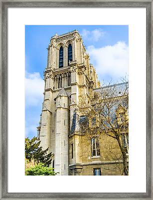 Notre Dame Cathedral Bell Tower - Paris Landmark Framed Print by Nila Newsom