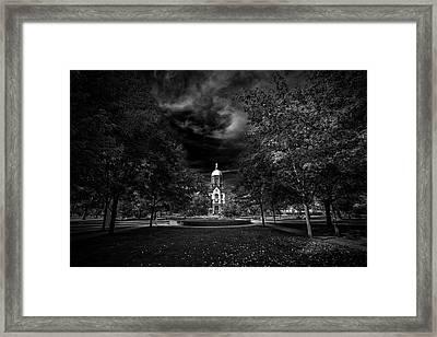Notre Dame University Black White Framed Print by David Haskett