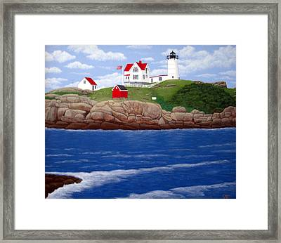 Nubble Lighthouse Framed Print by Frederic Kohli