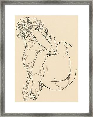 Nude Lying Down Framed Print by Egon Schiele