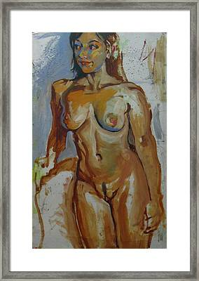 Nude Portrait Of A Framed Print by Piotr Antonow