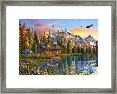 Old Log Cabin Framed Print by Dominic Davison