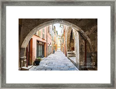 Old Street In Villefranche-sur-mer Framed Print by Elena Elisseeva