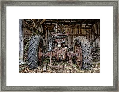 Old Tractor In The Barn Framed Print by Edward Fielding