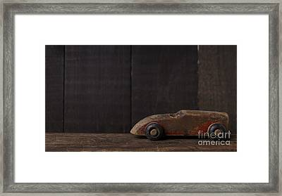 Old Wooden Toy Car Framed Print by Edward Fielding