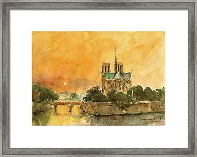 Paris Notre Dame Framed Print by Juan  Bosco