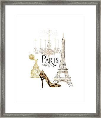 Paris - Ooh La La Fashion Eiffel Tower Chandelier Perfume Bottle Framed Print by Audrey Jeanne Roberts