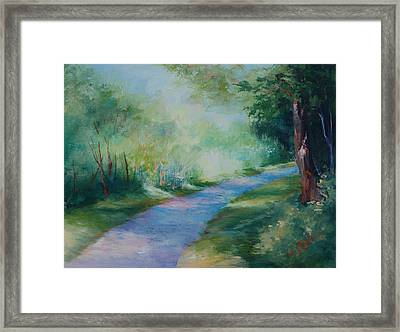 Path To The Pond Framed Print by Donna Pierce-Clark