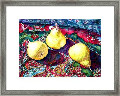 Pears And Paisley Framed Print by Norma Boeckler