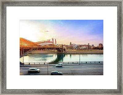 Pedestrian Bridge Across The Moscow River Framed Print by Alexey Stiop