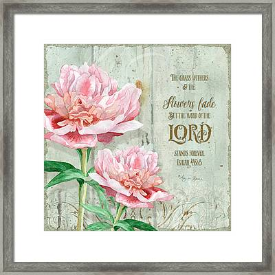Peony At The Fence Framed Print by Audrey Jeanne Roberts