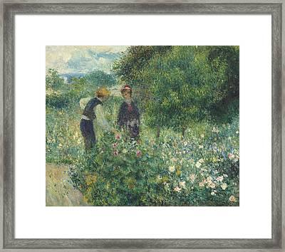 Picking Flowers Framed Print by Pierre Auguste Renoir