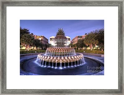 Pineapple Fountain Charleston Sc Sunrise Framed Print by Dustin K Ryan