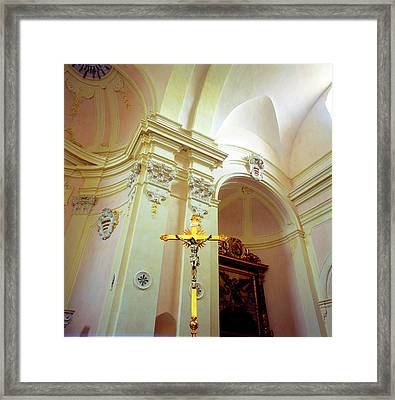 Pink Cathedral With Gold Cross Framed Print by Martin Sugg