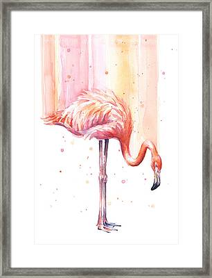 Pink Flamingo - Facing Right Framed Print by Olga Shvartsur