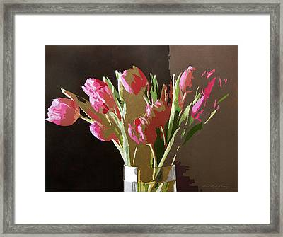 Pink Tulips In Glass Framed Print by David Lloyd Glover