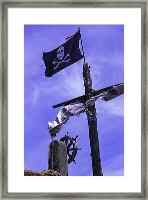 Pirate Flag On Ships Mast Framed Print by Garry Gay