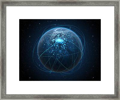 Planet With Illuminated Network And Light Trails Framed Print by Allan Swart