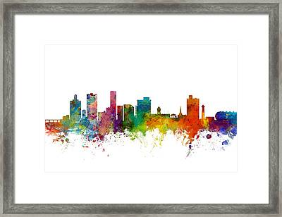 Port Elizabeth South Africa Skyline Framed Print by Michael Tompsett
