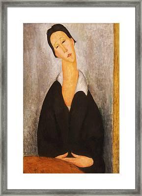 Portrait Of A Polish Woman Framed Print by Amedeo Modigliani