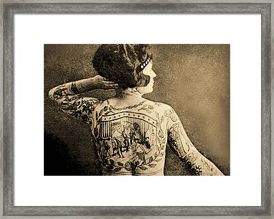 Portrait Of A Tattooed Woman Framed Print by English School