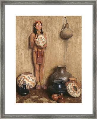 Pottery Vendor Framed Print by Eanger Irving Couse
