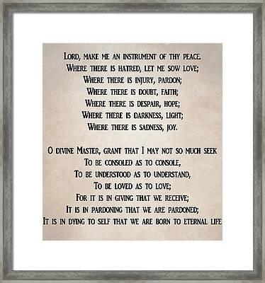 Prayer Of Saint Francis Framed Print by Dan Sproul