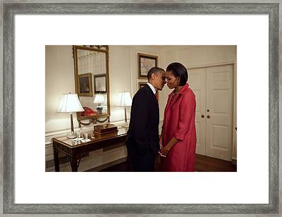 President And Michelle Obama Wait Framed Print by Everett