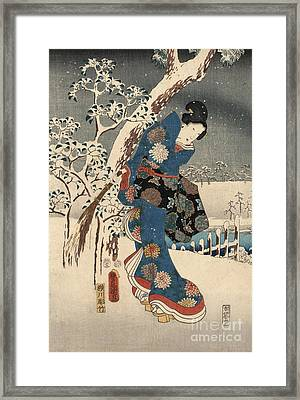 Print From The Tale Of Genji Framed Print by Kunisada and Hiroshige