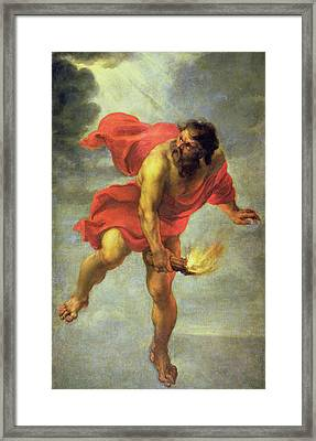 Prometheus Carrying Fire Framed Print by Jan Cossiers