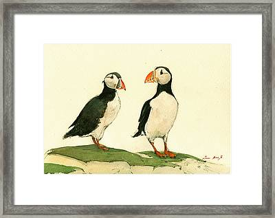 Puffins  Framed Print by Juan  Bosco