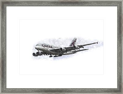Qatar Airlines Airbus And Seagull Escort Art Framed Print by David Pyatt