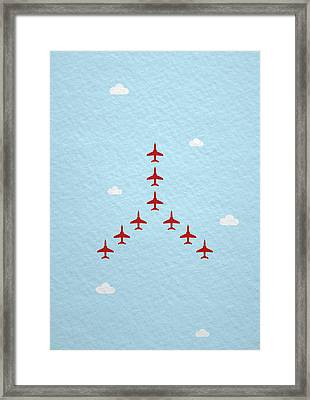 Raf Red Arrows In Formation Framed Print by Samuel Whitton