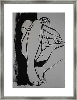 Reclining Male Framed Print by Joanne Claxton