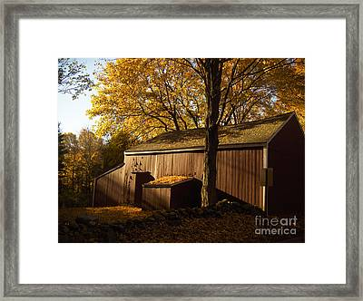 Red Barn At Dawn Framed Print by Joshua Francia