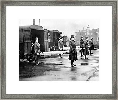 Red Cross Influenza Nurses Framed Print by Underwood Archives