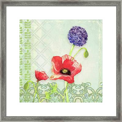 Red Poppy Purple Alium I - Retro Modern Patterns Framed Print by Audrey Jeanne Roberts
