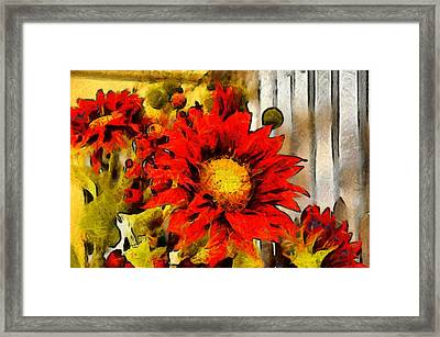 Red Sunflower Painting Framed Print by Floyd Snyder