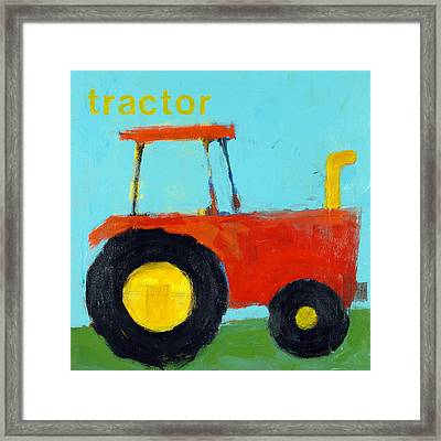 Red Tractor Framed Print by Laurie Breen