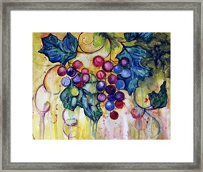 Red Water Color Grapes Framed Print by Peggy Wilson