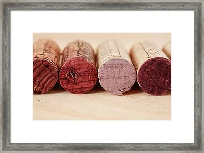 Red Wine Corks Framed Print by Frank Tschakert