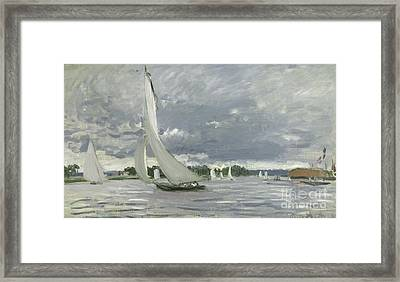 Regatta At Argenteuil Framed Print by Claude Monet