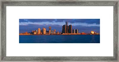 Renaissance Center, Detroit, Sunrise Framed Print by Panoramic Images