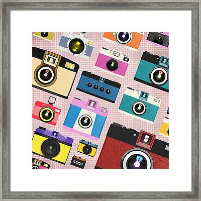 Retro Camera Pattern Framed Print by Setsiri Silapasuwanchai