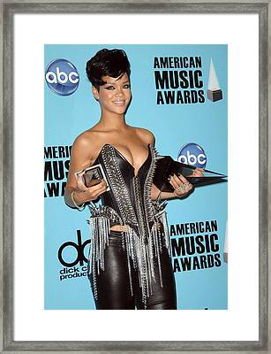 Rihanna In The Press Room For American Framed Print by Everett