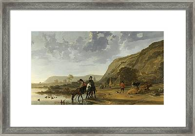 River Landscape With Horsemen Framed Print by Aelbert Cuyp