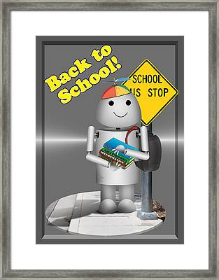 Robo-x9  Back To School Framed Print by Gravityx9 Designs