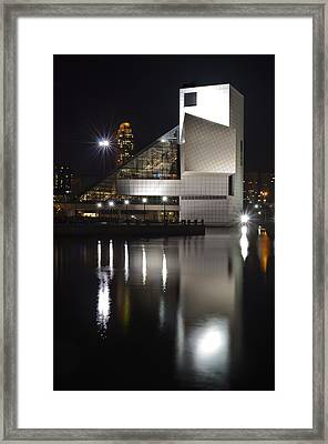 Rock And Roll Hall Of Fame At Night Framed Print by At Lands End Photography